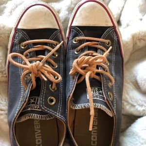 Navy Converse Chucks w/ leather shoe strings